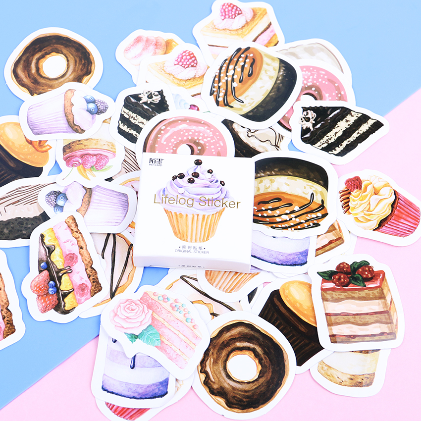 135PCS/3sets My Favorite Sweet Dessert Label Stickers Decorative Stationery Stickers Scrapbooking DIY Diary Album Stick Label spring and fall leaves shape pvc environmental stickers decorative diy scrapbooking keyboard personal diary stationery stickers