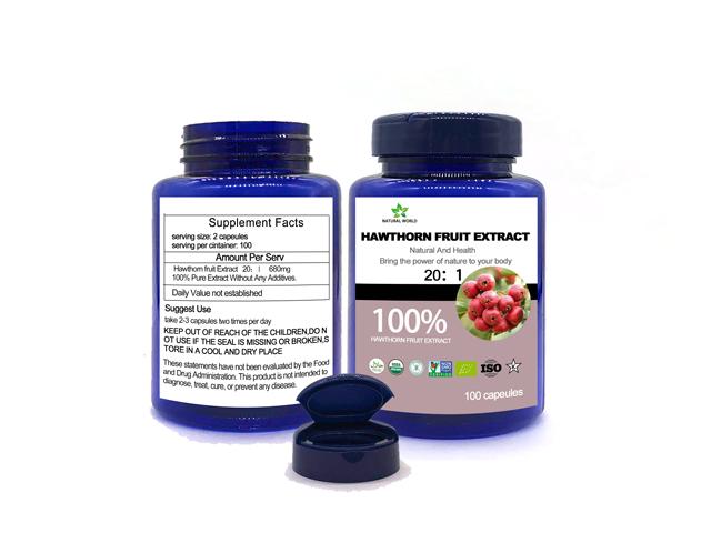 Hawthorn Berry Extract (20:1): 100 Capsules