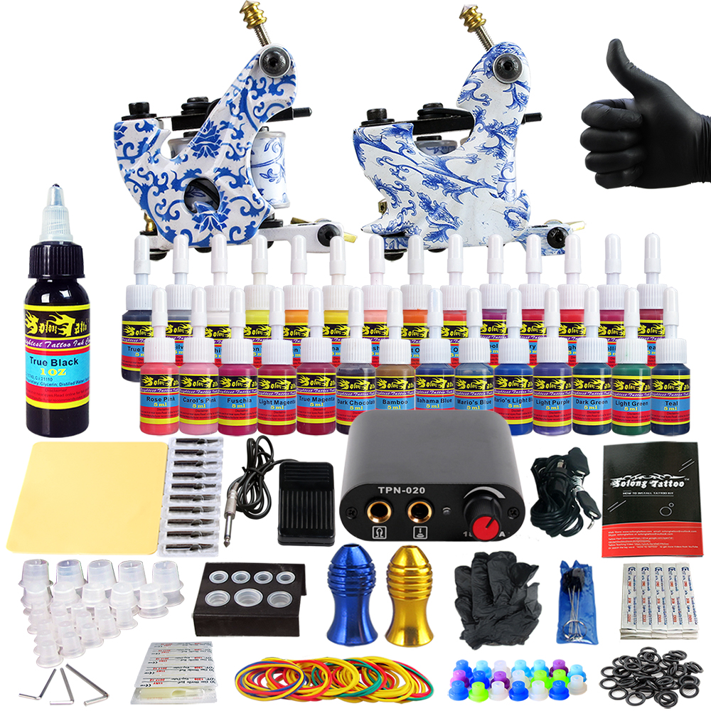 Solong Tattoo complete professional 2 tattoo Machine Guns set Tattoo Kit 28 Inks Needle Grips power supply TK204-32 europe god of darkness robert recommend gp self lock grips gp3 professional tattoo artist grip