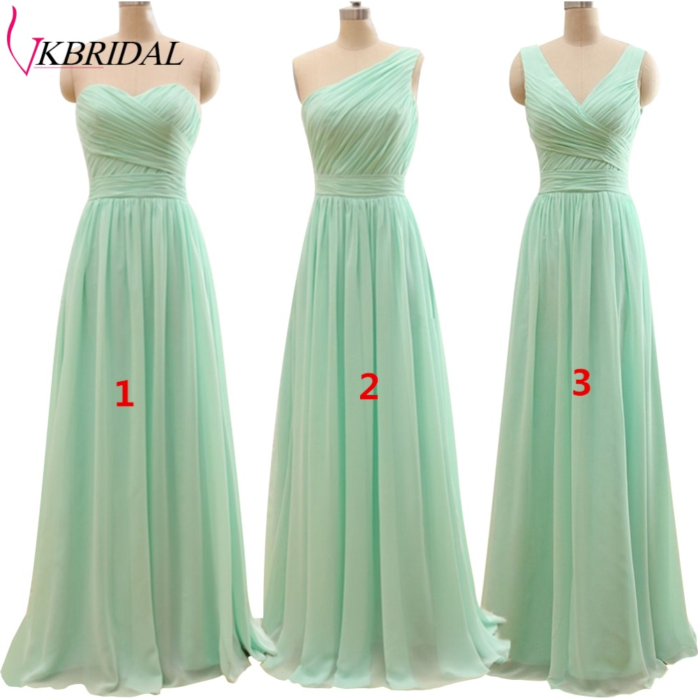 New Arrival 3 Styles A Line Mint Green Long Chiffon Pleated Bridesmaid Dresses Plus Size Floor Length Under 50