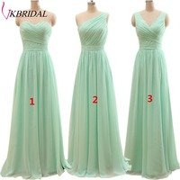 New Arrival Three Styles A Line Mint Green Long Chiffon Pleated Bridesmaid Dresses Plus Size Floor Length Under 50