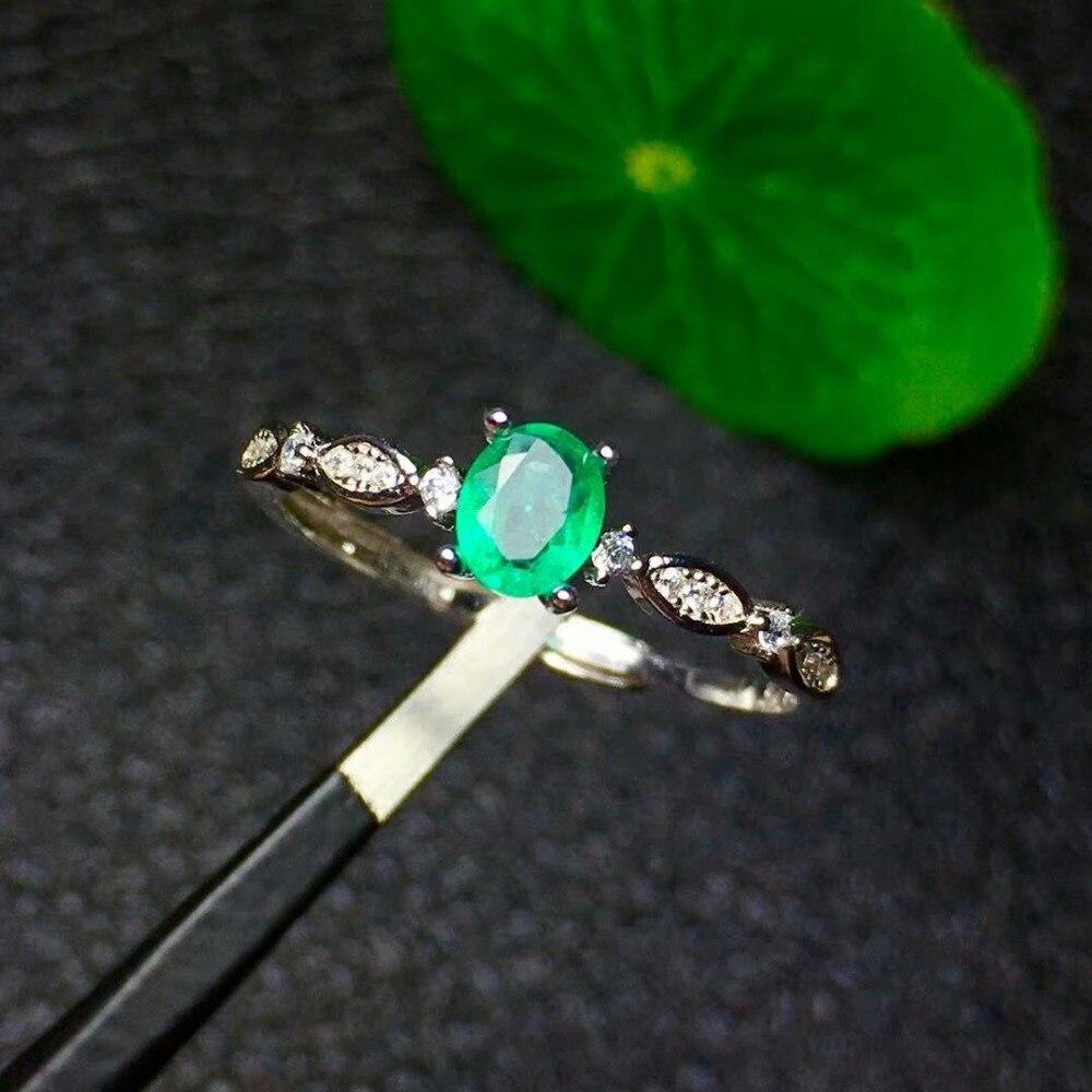 shilovem 925 sterling silver Natural Emerald Ring fine Jewelry Customizable women 4*5mm open wholesale zkj040501agml wholesale 1 4 2v3a