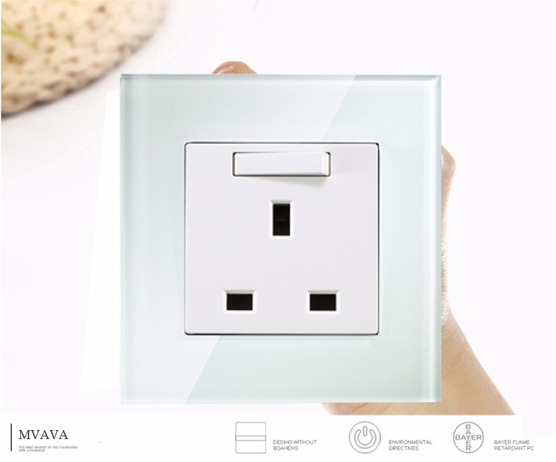 MVAVA British UK Standard Wall Socket With Switch 13A 250V Crystal ...