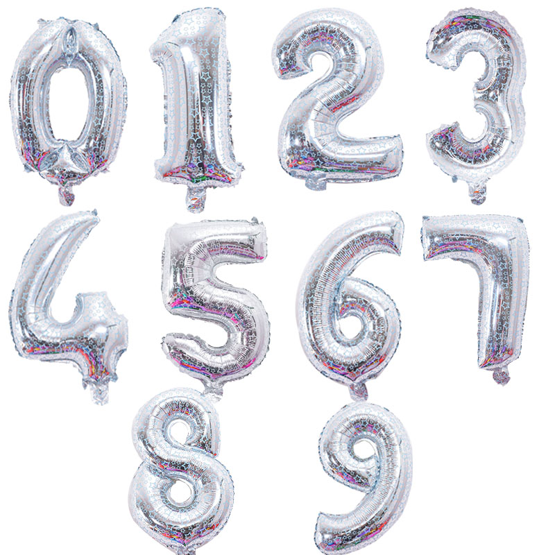 16 inch star printed Number Foil Balloons Digit Air balls happy Birthday Balloon