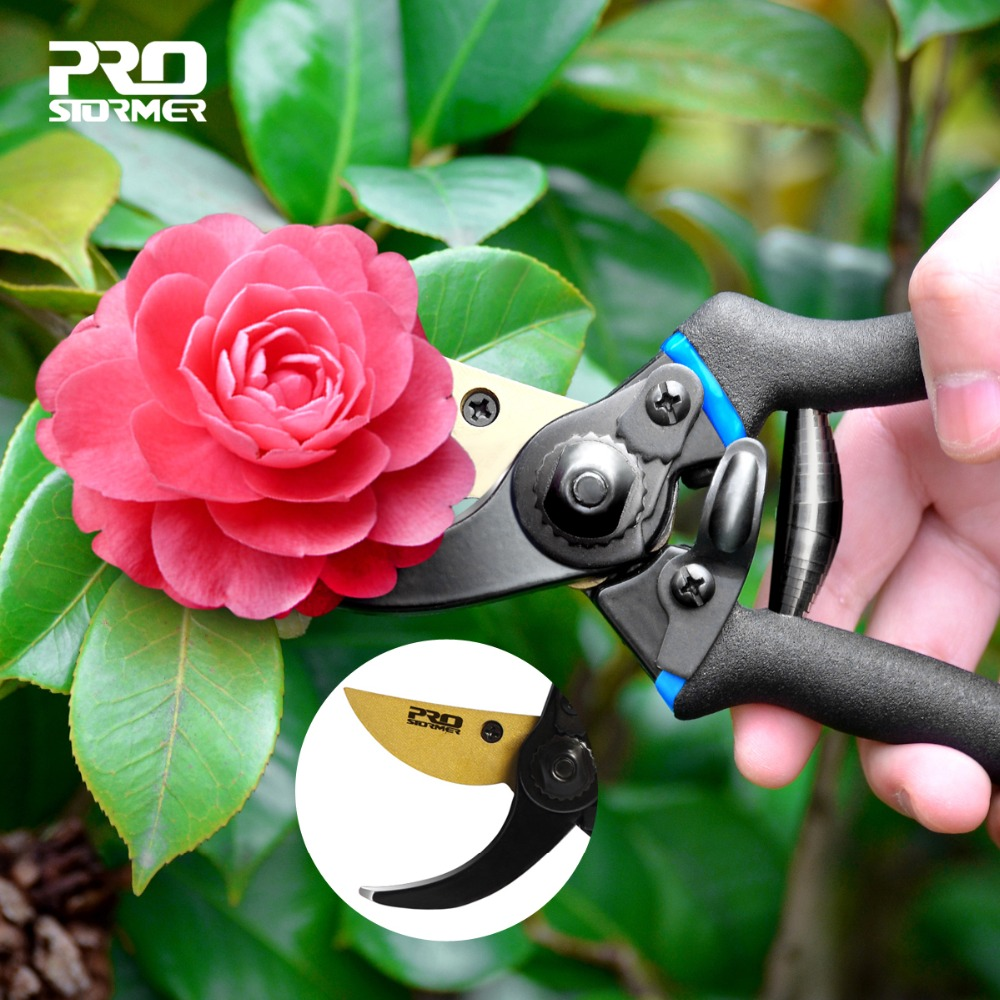 PROSTORMER Pruning Shears Scissor Professional PVC Handguard 65 Manganese Steel Secateurs Gardening Scissors Graft Pruners Tools