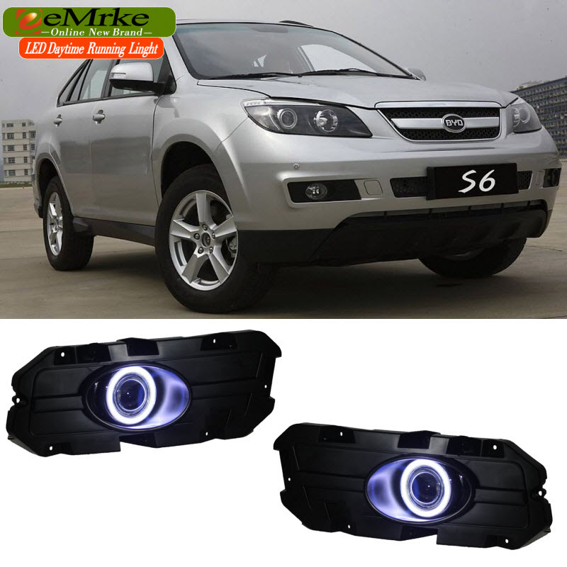 EEMRKE For BYD S6 LED Angel Eye DRL H11 55W Halogen Yellow Fog Lights Lamp Daytime Running Light Car Styling eemrke led angel eye drl for mazda 6 2003 2008 daytime running lights h11 55w halogen fog light lamp kits