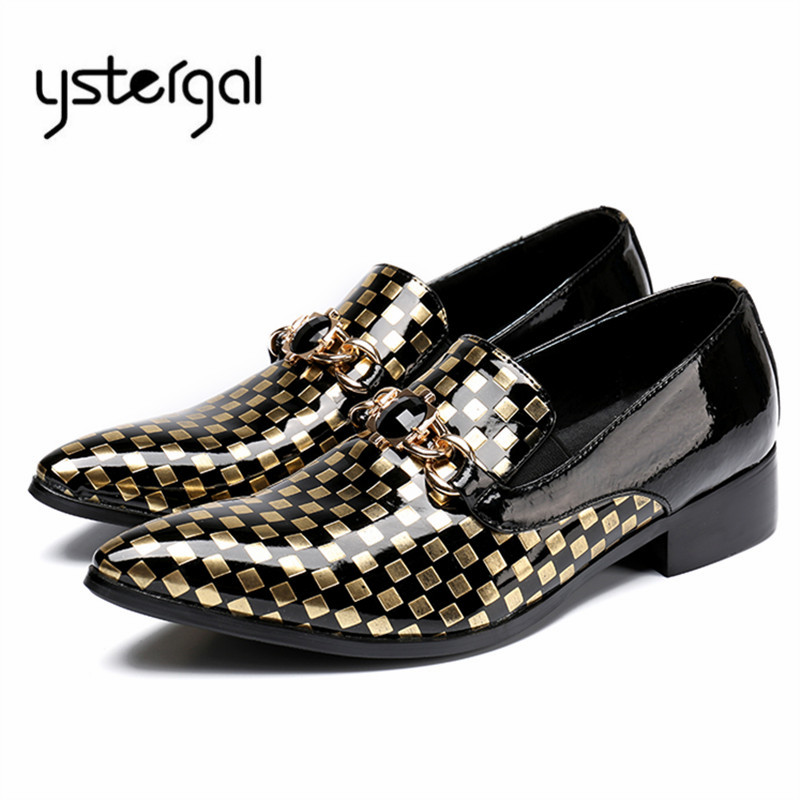 YSTERGAL Plaid Pointed Toe Men Formal Dress Shoes Mens Metal Decor Business Wedding Shoe Male Slip On Flats Oxford Shoes ystergal gold metal pointed toe men leather shoes lace up mens prom wedding shoe business formal dress flats oxford shoes