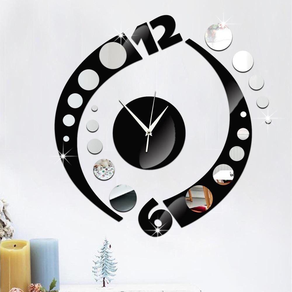 new creative arc double color acrylic mirror wall clock ...