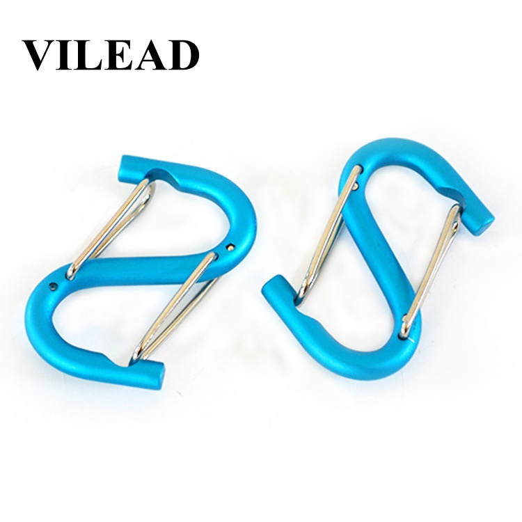 VILEAD 2pcs High Quality Aluminum alloy Carabiner Climbing Accessories Tool Buckle Quick Clip Screw Hiking Camping