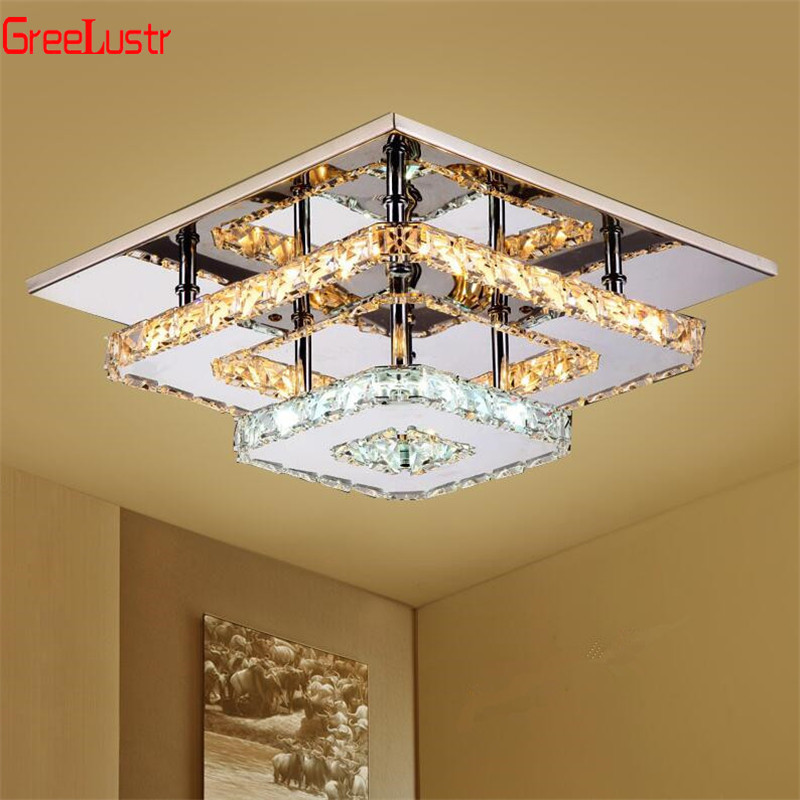 K9 Crystal Ceiling Lamp Fixture Modern Chandelier Lustres Led Plafond For Stair Hallway Indoor Home Ceiling