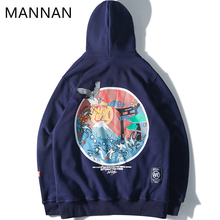MANNAN Japonais Brod Grues Polaire Hoodies Streetwear Hommes Femmes 2018 Hip Hop Casual Sweatshirts Rose Naby Bleu