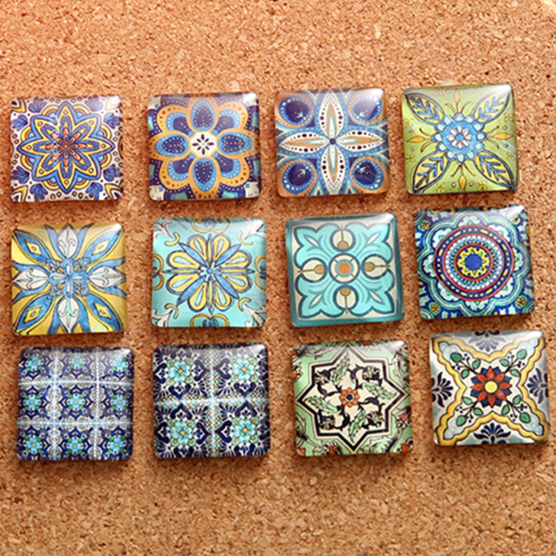 10/15/20/25MM Fashion Popular Flower Pattern Square Handmade Photo Glass Cabochons & Glass Dome Cover Pendant Cameo Settings