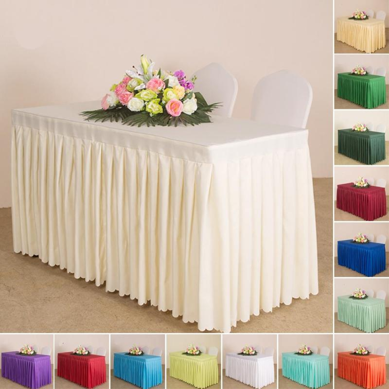 Tablecloth with Pleated Table Skirt Pure Color Polyester Pleated Style Oval Apron Table Cover Wedding Party Tablecloth S3