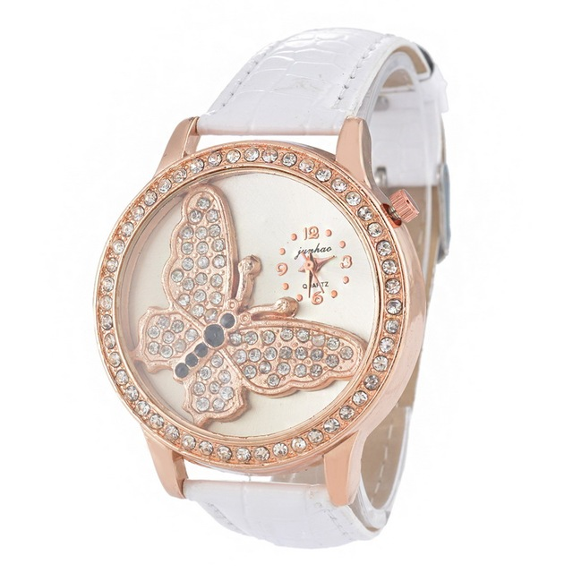Butterfly Pattern Leather Ladies Quartz Watch 2019 Fashion Simple Rhinestone Dre