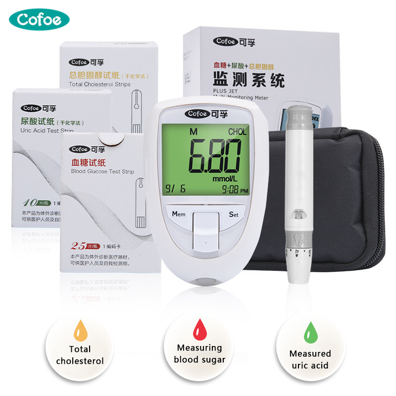 Cofoe Blood Glucose & Uric Acid & Cholesterol 3 In 1 Multi Monitor With Test Strips For Elder Detection Meter For Diabetic