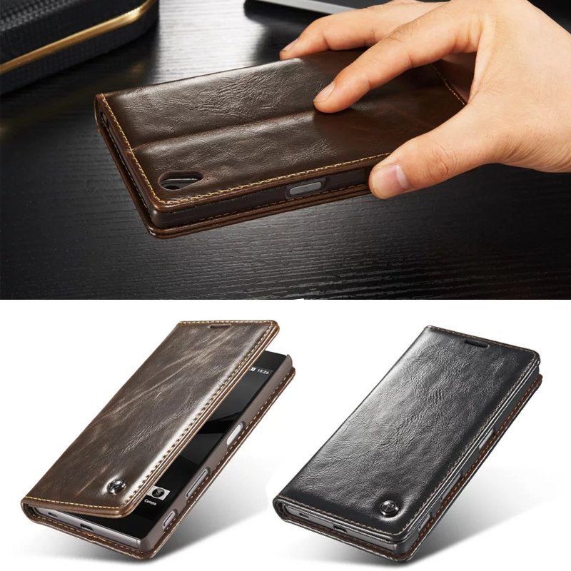 Luxury Magnet Flip Mobile Phone Cases Cover For Sony Xperia Z3+ E6553 / Z3 Plus Dual E6533 / Sony Z4 Genuine Leather Wallet Case