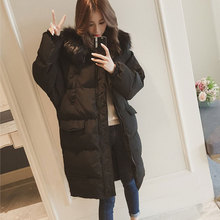 Women Fur Collar Long Hoodie Down Jacket Plaid Autumn Winter Solid Thick Plus Coats Slim Thin Long Sleeve  Zipper Coats Pockets