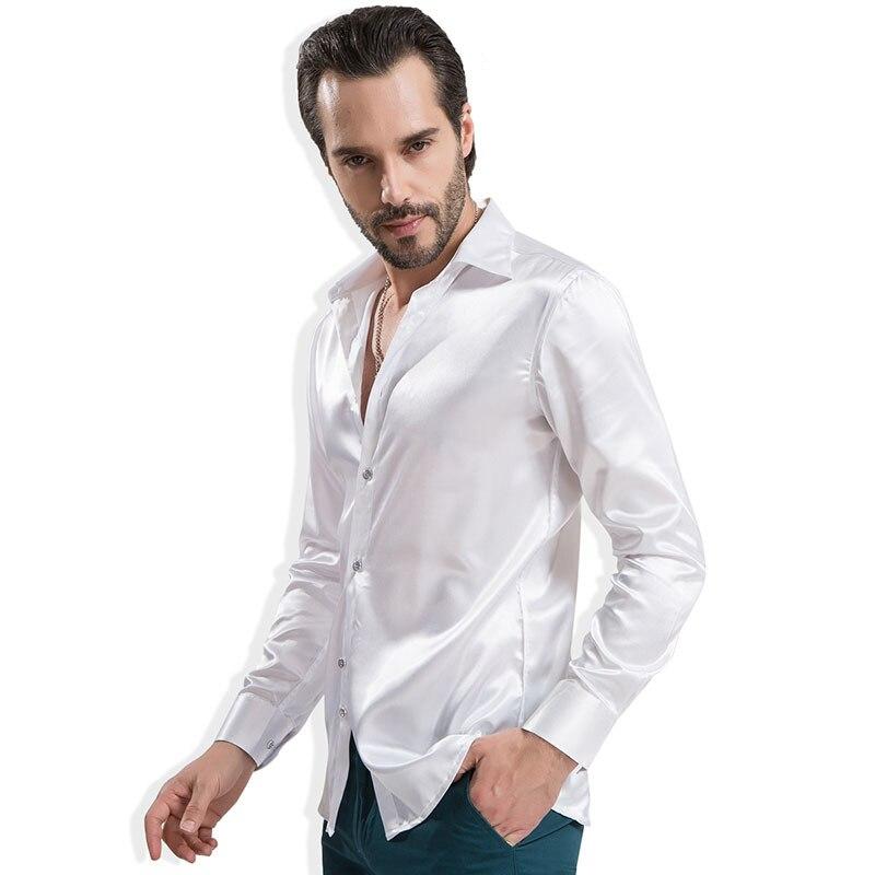 Chemise du marié de la mode soie soyeuse satin chemise de luxe - Vêtements pour hommes - Photo 5