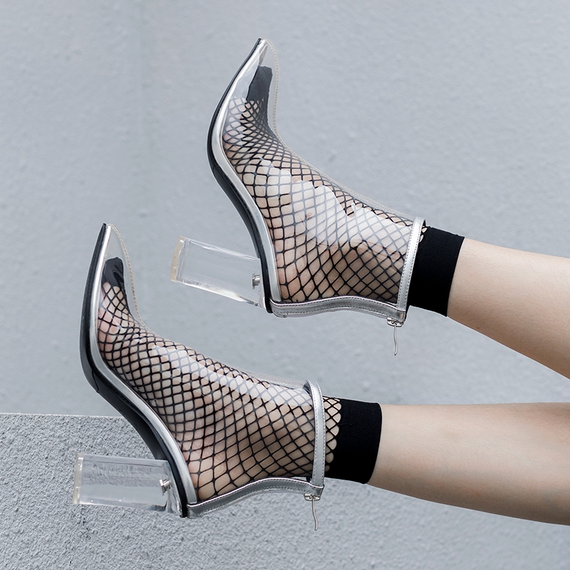 2019 Spring New Transparent Boots Clear Chunky heels Mujer Square heel Women Boots Lady Sexy Party Summer Boots Lace Up boots in Ankle Boots from Shoes