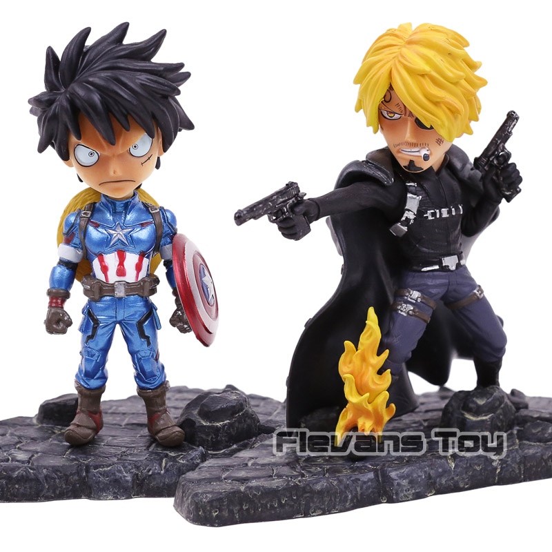 Snitch King Cos Avengers One Piece Luffy Cos Captain America / Sanji Cos Nick Fury PVC Figure Collectible Model ToySnitch King Cos Avengers One Piece Luffy Cos Captain America / Sanji Cos Nick Fury PVC Figure Collectible Model Toy