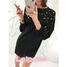 2018 New Pearl Beading Women Mini Dress Autumn Spring Solid Bodycon Wrap Dress Casual Vintage Long Sleeve Fashion Laipelar pearl beading bell sleeve hijab long dress