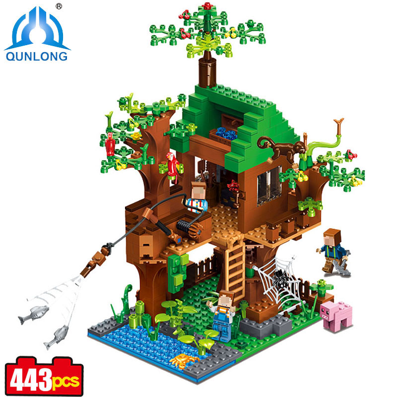 443pcs ABS Plastic Village Forest Brick Figure For Kids Toy Compatible Legoe Minecraft City Building Blocks Lepine Boy Girl Toy eric peterson frommer s® montana