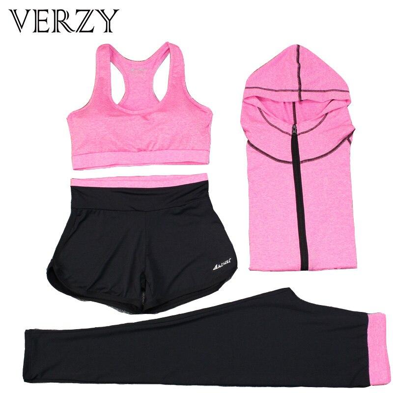 @1  Женщины Yoga Набор 4 Шт. Бюстгальтер Куртка Шорты Брюки Упражнения Спортивная Одежда Quick Dry Дышащ ①