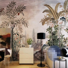 Custom wallpaper European retro hand drawn tropical plants background wall painting