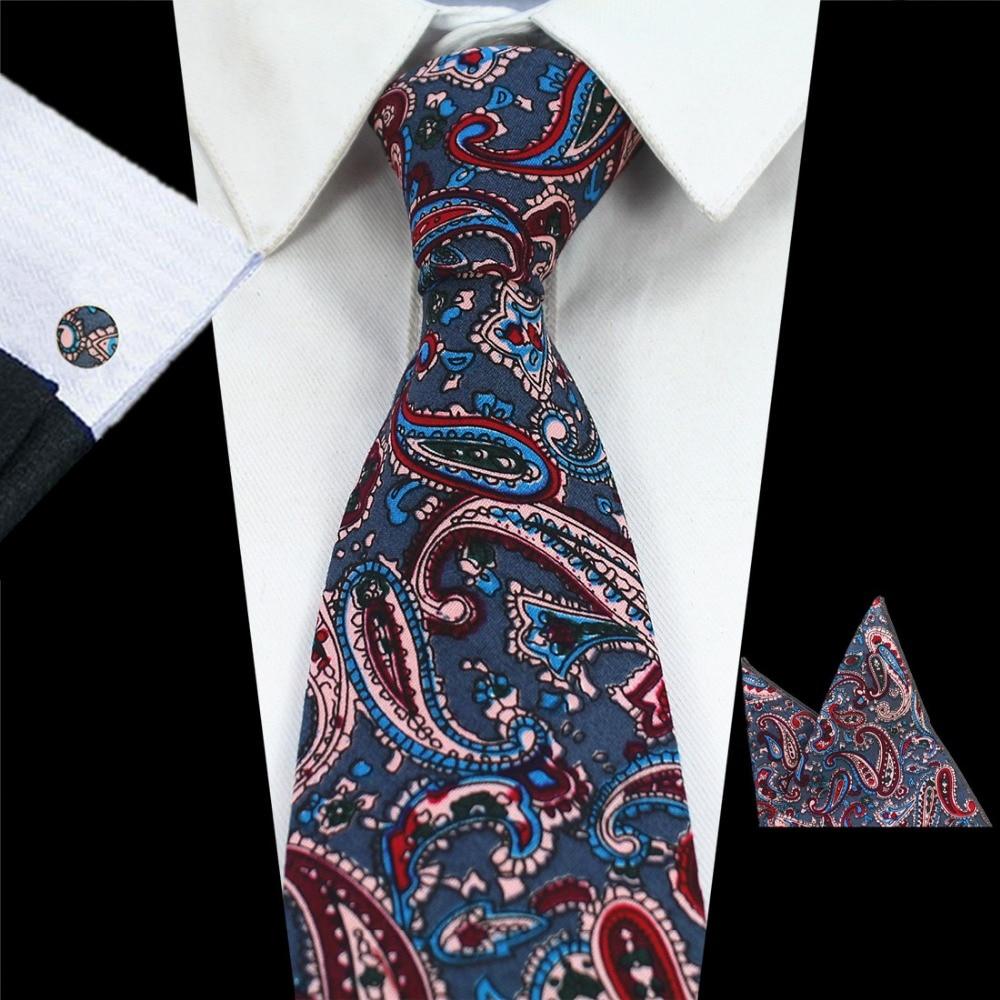 RBOCOTT Uusi saapuminen 8cm puuvillanauhoja painettu Paisley Tie tasku neliön kalvosinnapit asettaa muoti kaula solmioita yrityksille hääjuhlia