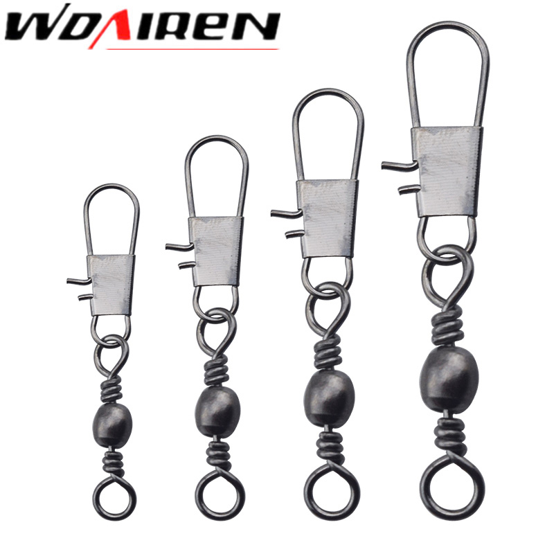 20Pcs/lot Fishing Connector Pin Bearing Rolling Swivel Stainless Steel with Snap Fishhook Lure Tackle Accessorie 2# 3# 4# 6# 8# цены