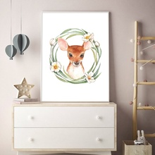 Watercolor Deer bird Fox Cat Flower Nursery Nordic Posters And Prints Wall Art Canvas Painting Pictures For Kids Room Decor