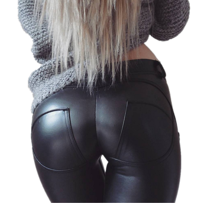 EOEODOIT S-6XL Women Leather   Leggings   Waist X Elastic Trousers Pocket Hip Push Up Sexy Female Casual Party Club Pencil Pants