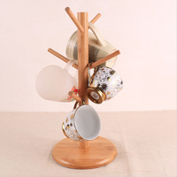 Creative Japanese and Korean style ZAKKA simple tree cup holder six claw bamboo water cup convenient storage rack
