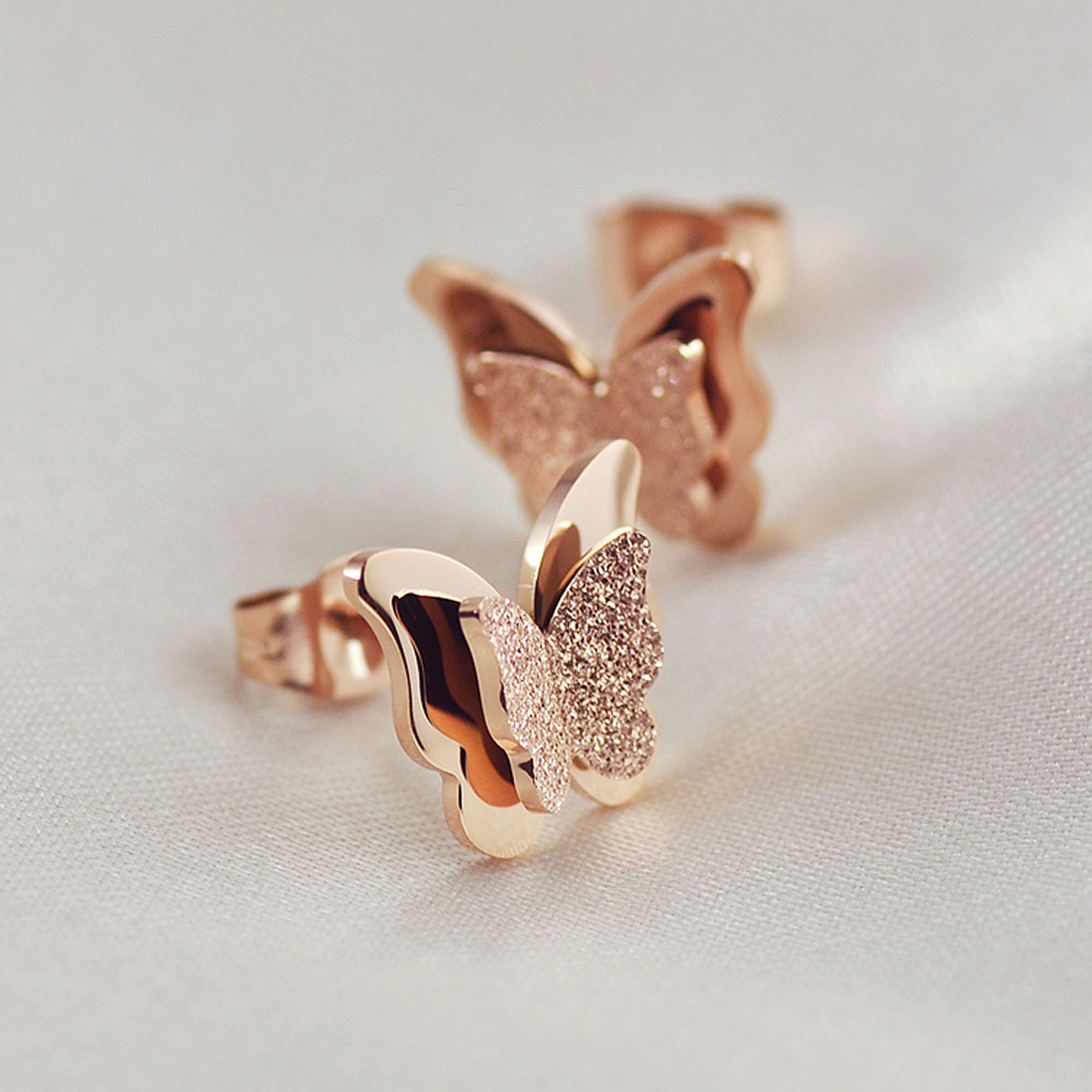 OBSEDE Stainless Steel Earrings For Women Child Rose Gold Color ...