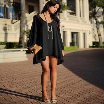 Summer Dress 2018 casual Plus Size Women Clothing Long sleeve solid color Chiffon V Dress Vestidos Beach Dress Loose neck dress 3