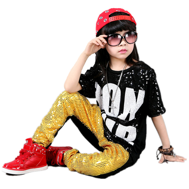 free shipping sequin children hip hop dance costumes