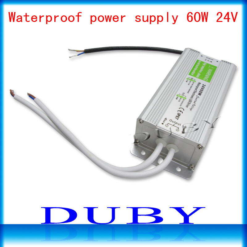 10piece/lot IP67 24V 2.5A 60W AC100-240V Input Electronic Waterproof Led Power Supply/ Led Adapter 24V 60W free fedex dhl led power supply waterproof 150w 12v 24v rohs ce ip67 dhl fedex free shipping 5pcs lot