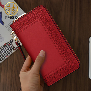 Image 4 - Pmsix 2020 Embroidery Cattle Split Leather Wallet Zipper Brand Long Womens Wallets Purses Black Red Ladies Clutch Wallet P420017