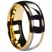 Queenwish 8mm Gold Color Tungsten Ring Silver Dome Gunmetal Men Wedding Bands Jewelry Size 6 13