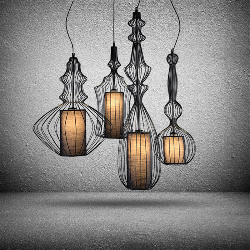Modern Creative Home Decoration Restaurant Iron Chandelier Bird Cage Coffee Shop Light Bar Lamp free shipping nordic post modern denmark creative chandelier art crown bar coffee shop decoration light dining lights