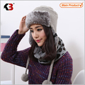 2016 Winter Warm Thick Women Knitted Fur Hat Knitted Fur Cps Lady Winter Warm Charm Beanies Caps Female Headgear