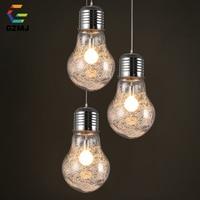 GZMJ 3 Colors Glass Pendant Lights Simple Big Bulb Hanglamp E27 Loft Hanging Lamp for Bedroom Dining Room Living Room Restaurant