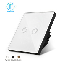 Interruptor de pared impermeable inteligente, Interruptor táctil, indicador LED, panel de vidrio blanco, 170 ~ 250 v, las normas de 2 bandas/UE(China)