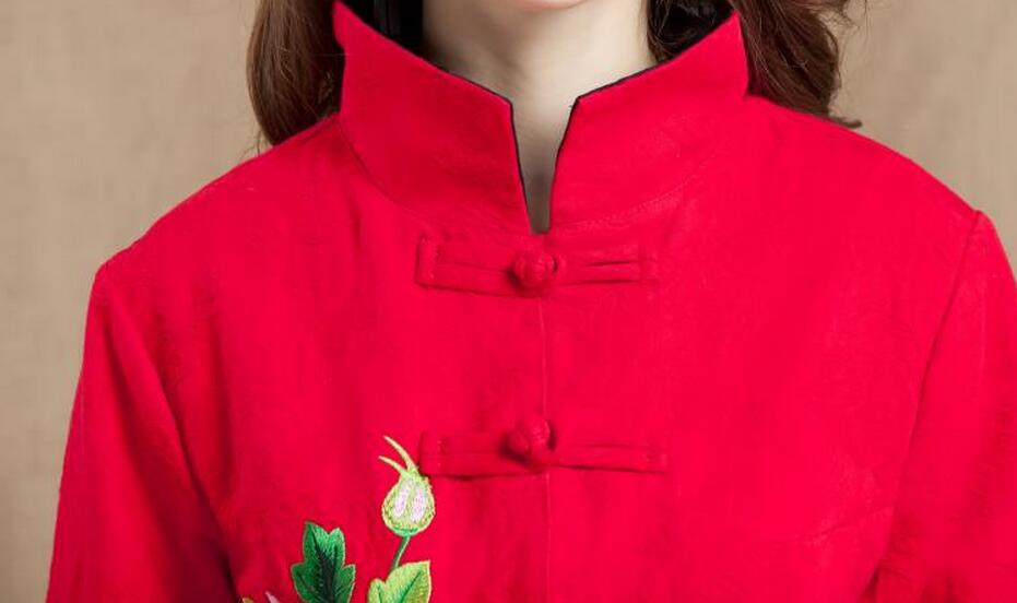 Matelassé Nouvelle Costume Femmes Noir rose 2018 Longues Court Manches Chaude red 4xl Chinois À Manteau Broderie Red Xl vert D'hiver Style Mode qIwXT64zx