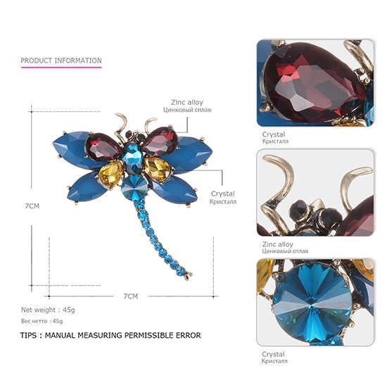 Animale sveglio & Insetto Libellula Spille Spilli per Le Donne 3 Colori di Cristallo Spilla Accessori di Abbigliamento Gioelleria raffinata e alla moda BR03009