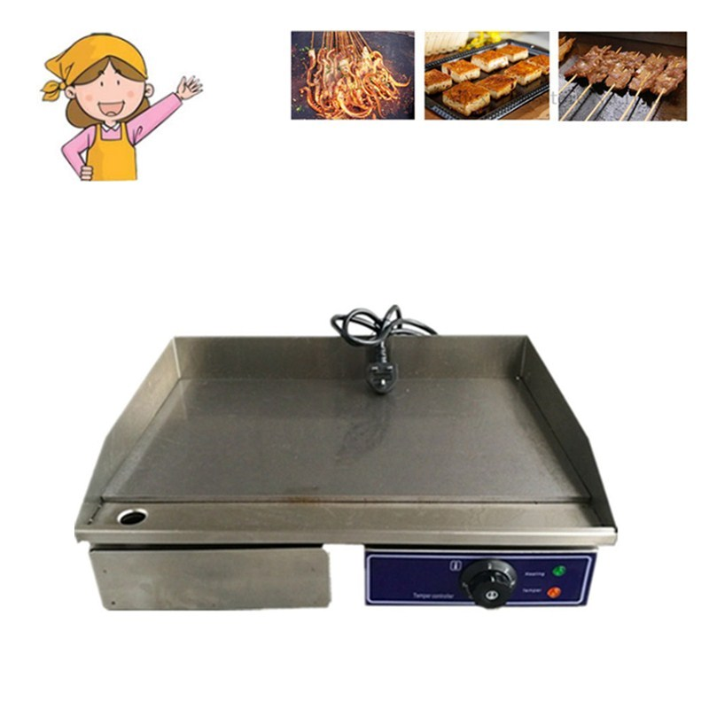 High Quality Stainless Steel Cooking Appliance Flat Pan Grooved Electric Griddle Fried For Home Commercial Use flat pan rolled fried ice machine with double compressors