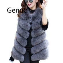 Genuo Winter Warm Vest New Arrival Fashion Women Import Coat Fur Vest High-Grade Faux Fur Coat Fox Fur Long Vest Plus Size S-3XL genuo new 2019 winter fashion women s faux fur vest faux fur coat thicker warm fox fur vest colete feminino plus size s 3xl