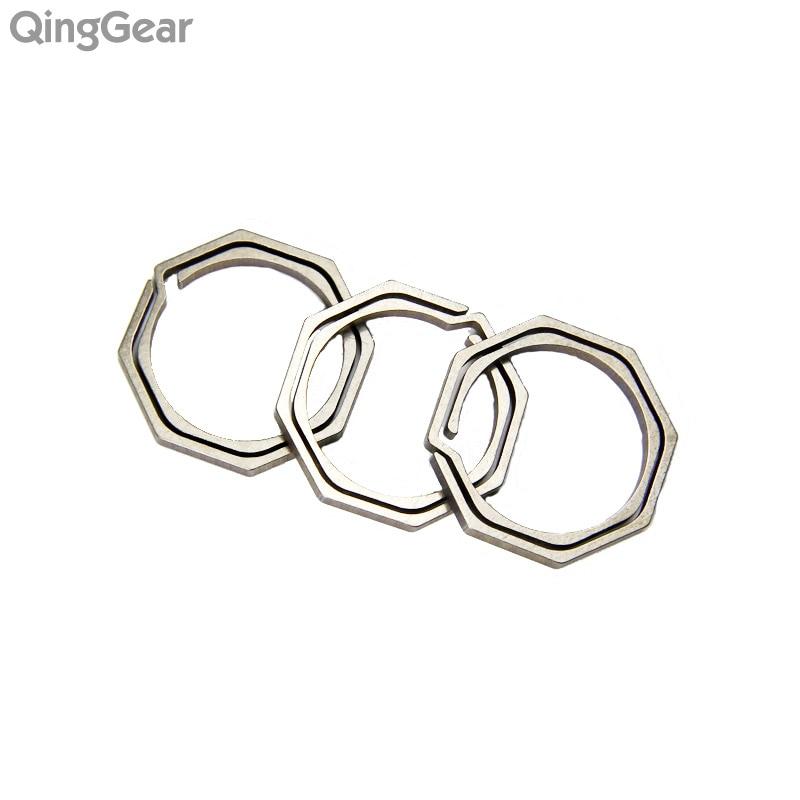 3pcs QingGear KeyRing1 Titular de llave dividida de titanio Herramienta ligera clave de nudo colgante