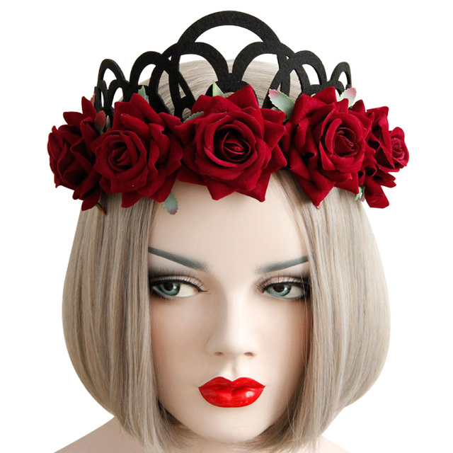 Halloween women Red rose hairbans christmas Queen Crown Headwear shot with ornaments rose queen crown hair with tuxedo wreath