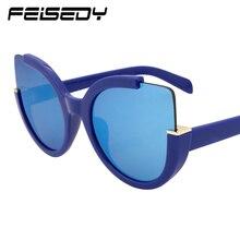 FEISEDY New Cat Eye Sunglasses Women Brand Design Fashion Vintage Multicolor Oversized Sun Glasses For Women Lunettes Gafas